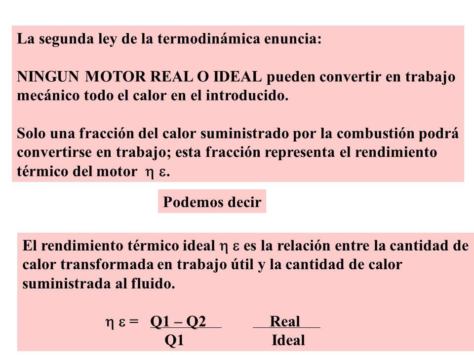 La segunda ley de la termodinámica enuncia: NINGUN MOTOR REAL O IDEAL pueden convertir en trabajo mecánico todo el calor en el introducido. Solo una f