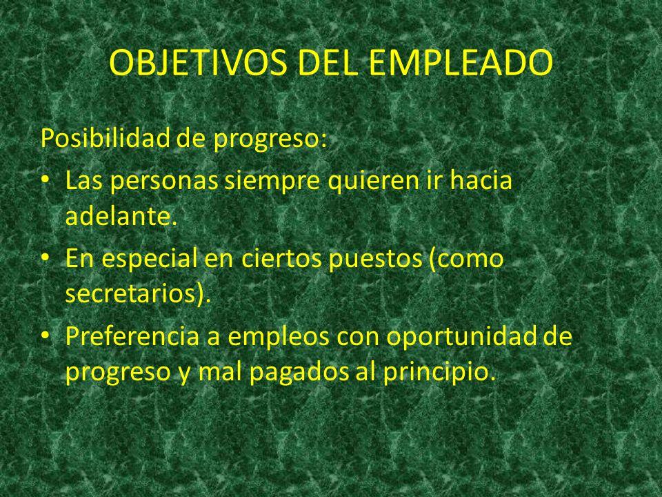 OBJETIVOS DEL EMPLEADO Posibilidad de progreso: Las personas siempre quieren ir hacia adelante. En especial en ciertos puestos (como secretarios). Pre