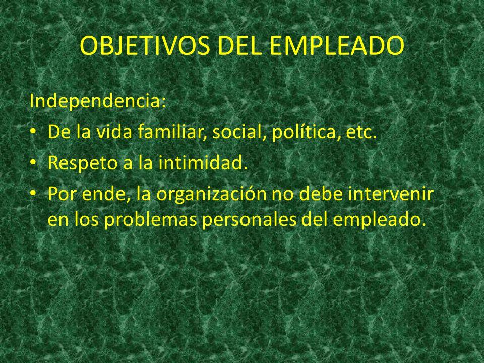 OBJETIVOS DEL EMPLEADO Independencia: De la vida familiar, social, política, etc. Respeto a la intimidad. Por ende, la organización no debe intervenir