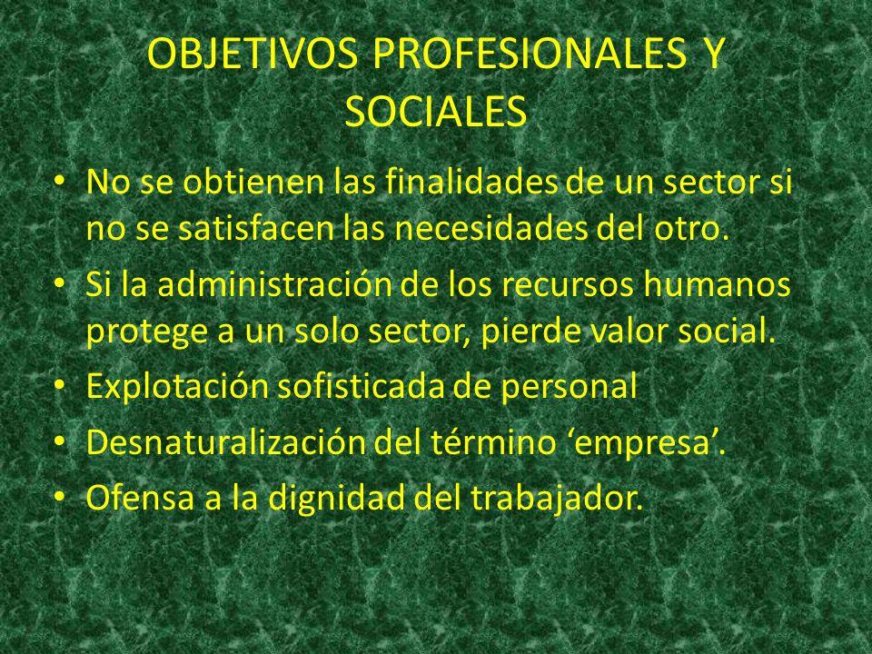 OBJETIVOS PROFESIONALES Y SOCIALES No se obtienen las finalidades de un sector si no se satisfacen las necesidades del otro. Si la administración de l