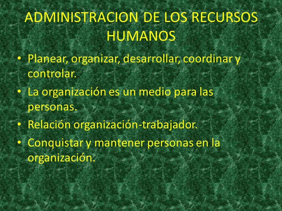 ADMINISTRACION DE LOS RECURSOS HUMANOS Planear, organizar, desarrollar, coordinar y controlar. La organización es un medio para las personas. Relación