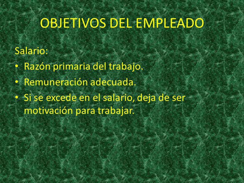 OBJETIVOS DEL EMPLEADO Condiciones de trabajo: Tanto físicas como sociales.