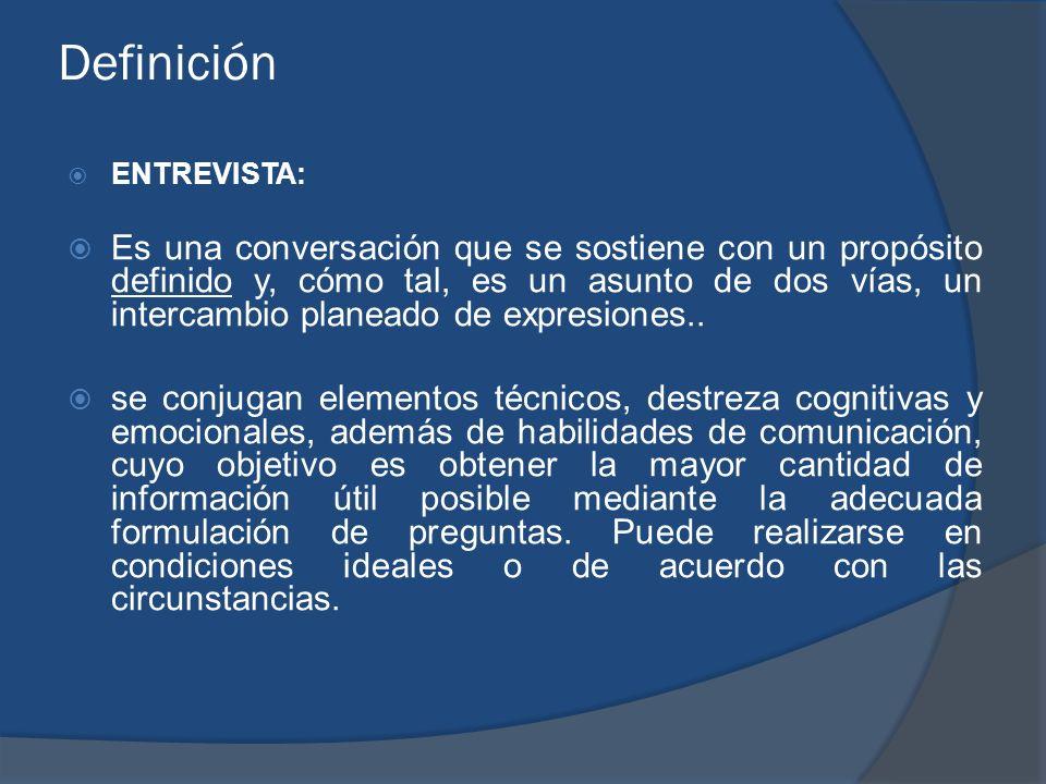Definición ENTREVISTA: Es una conversación que se sostiene con un propósito definido y, cómo tal, es un asunto de dos vías, un intercambio planeado de