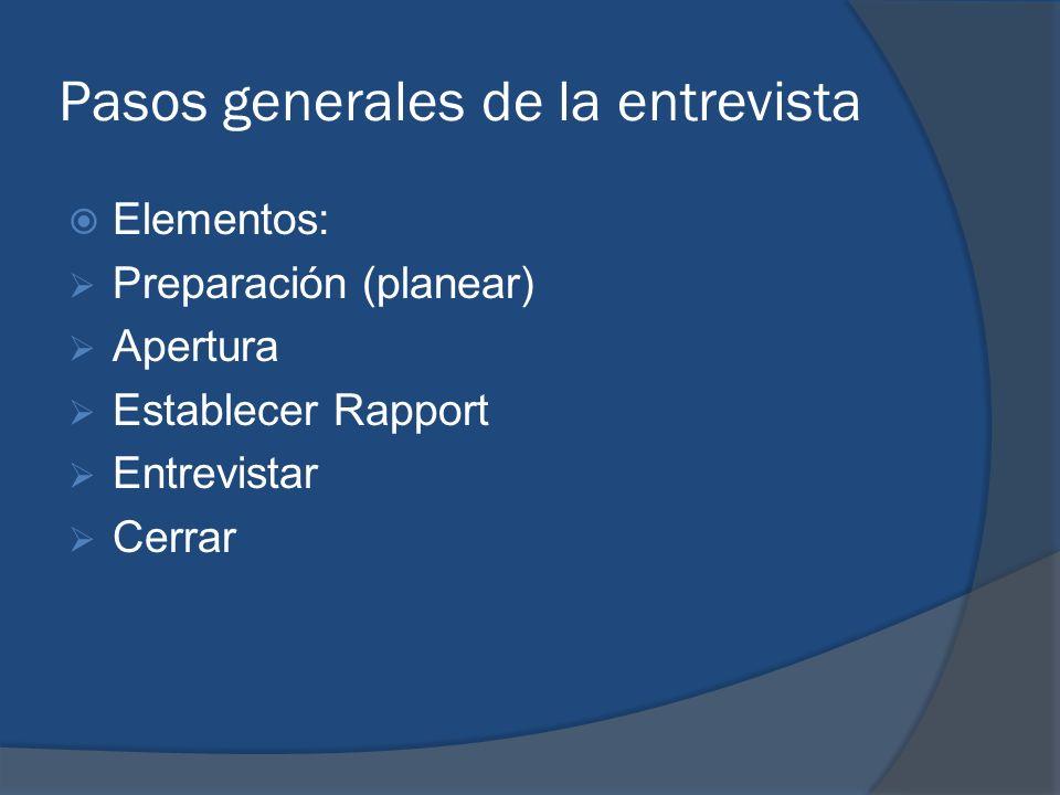 Pasos generales de la entrevista Elementos: Preparación (planear) Apertura Establecer Rapport Entrevistar Cerrar