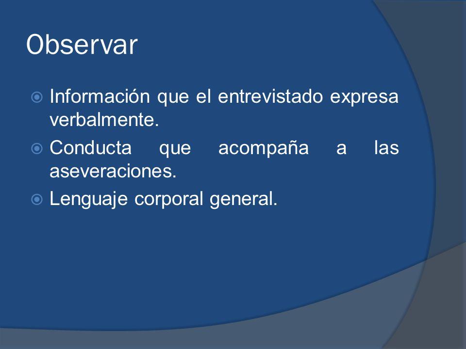 Observar Información que el entrevistado expresa verbalmente. Conducta que acompaña a las aseveraciones. Lenguaje corporal general.