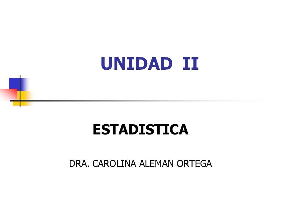 UNIDAD II ESTADISTICA DRA. CAROLINA ALEMAN ORTEGA