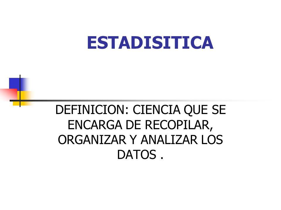 ESTADISITICA DEFINICION: CIENCIA QUE SE ENCARGA DE RECOPILAR, ORGANIZAR Y ANALIZAR LOS DATOS.