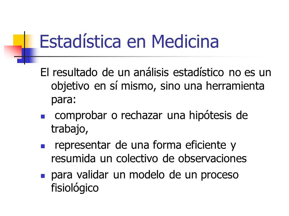 Estadística en Medicina El resultado de un análisis estadístico no es un objetivo en sí mismo, sino una herramienta para: comprobar o rechazar una hipótesis de trabajo, representar de una forma eficiente y resumida un colectivo de observaciones para validar un modelo de un proceso fisiológico