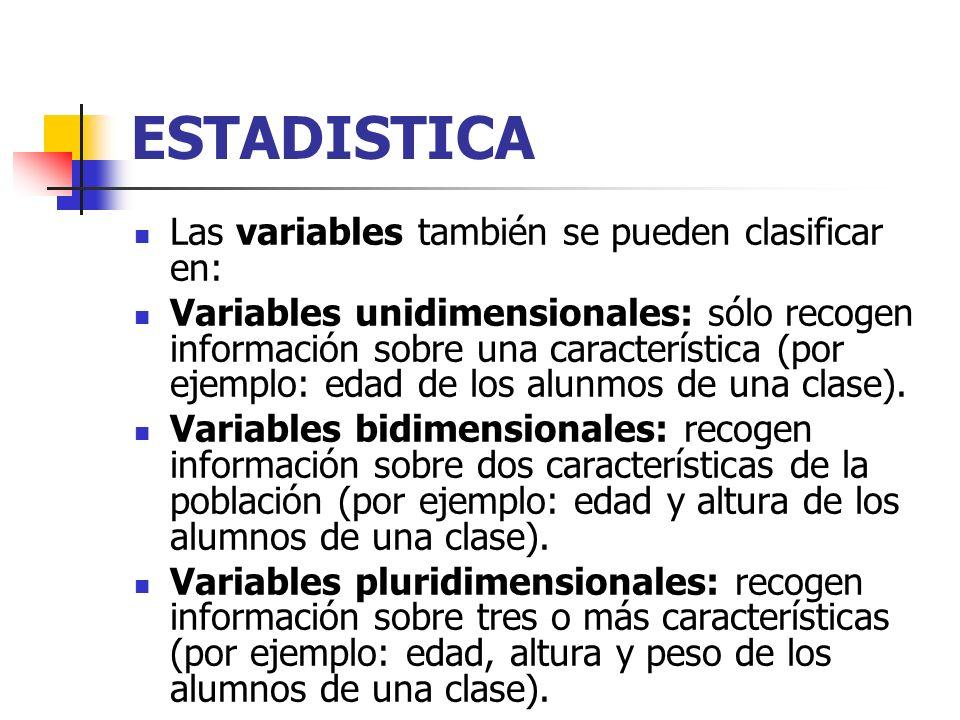 ESTADISTICA Las variables también se pueden clasificar en: Variables unidimensionales: sólo recogen información sobre una característica (por ejemplo: edad de los alunmos de una clase).