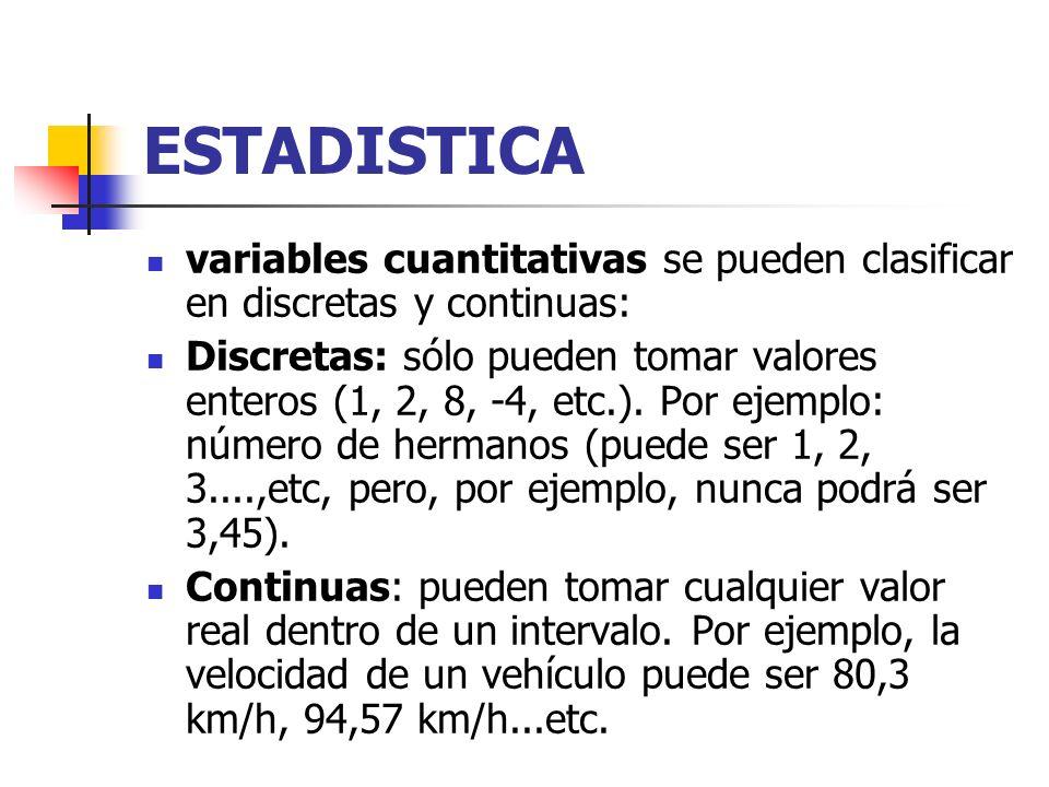 ESTADISTICA variables cuantitativas se pueden clasificar en discretas y continuas: Discretas: sólo pueden tomar valores enteros (1, 2, 8, -4, etc.).