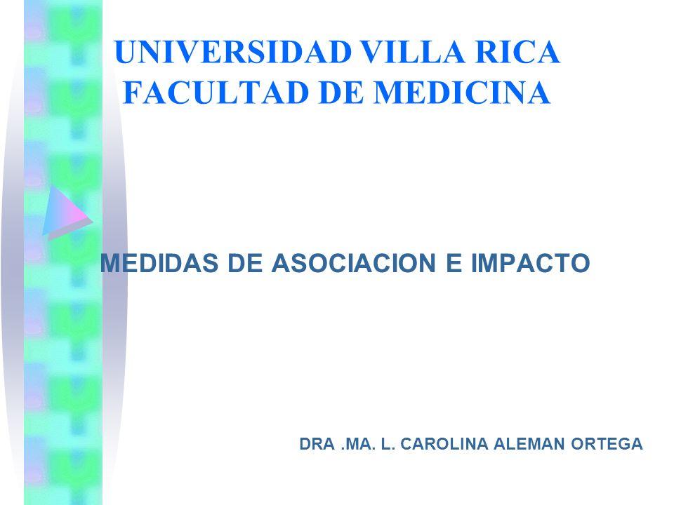 UNIVERSIDAD VILLA RICA FACULTAD DE MEDICINA MEDIDAS DE ASOCIACION E IMPACTO DRA.MA. L. CAROLINA ALEMAN ORTEGA