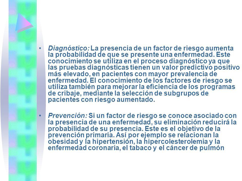 Diagnóstico: La presencia de un factor de riesgo aumenta la probabilidad de que se presente una enfermedad. Este conocimiento se utiliza en el proceso