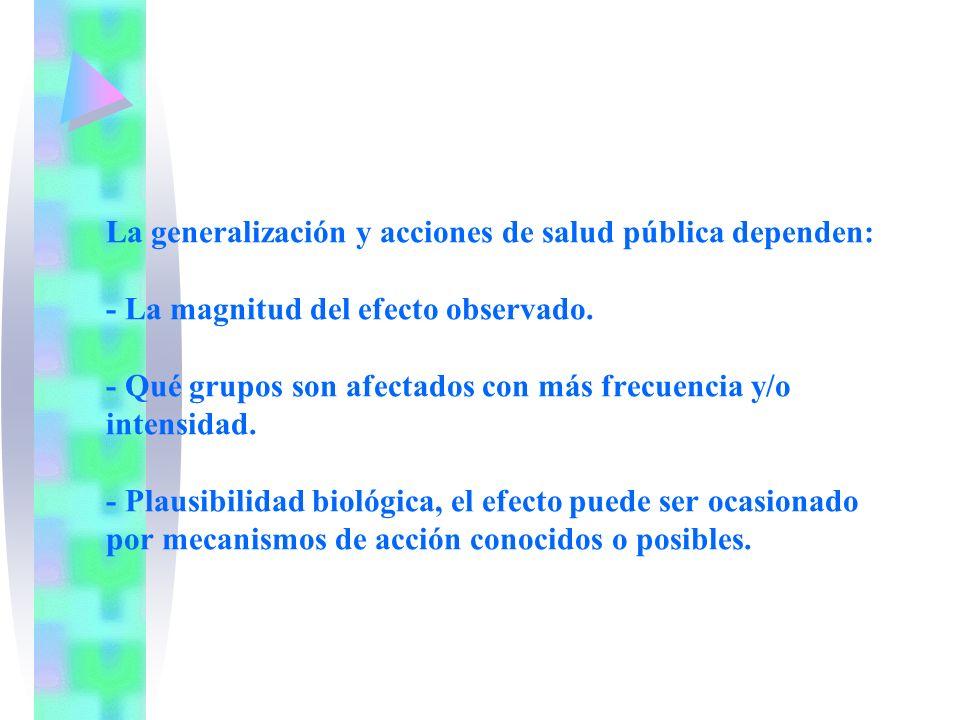 La generalización y acciones de salud pública dependen: - La magnitud del efecto observado. - Qué grupos son afectados con más frecuencia y/o intensid