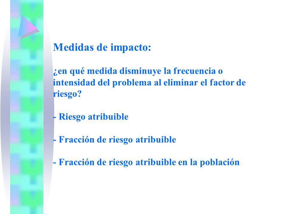 Medidas de impacto: ¿en qué medida disminuye la frecuencia o intensidad del problema al eliminar el factor de riesgo? - Riesgo atribuible - Fracción d
