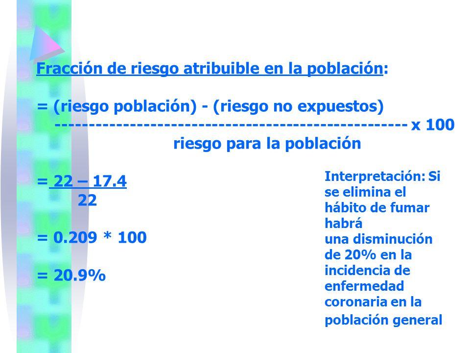 Fracción de riesgo atribuible en la población: = (riesgo población) - (riesgo no expuestos) ---------------------------------------------------- x 100