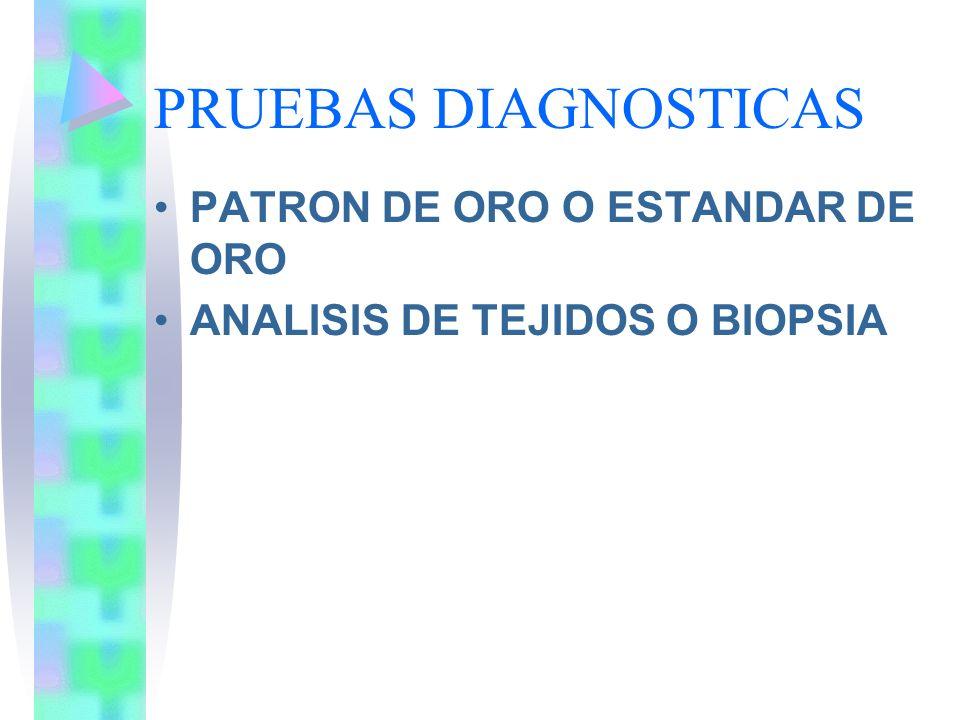PRUEBAS DIAGNOSTICAS PATRON DE ORO O ESTANDAR DE ORO ANALISIS DE TEJIDOS O BIOPSIA