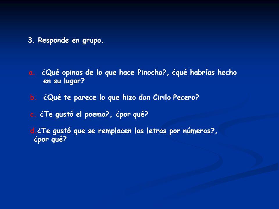 3. Responde en grupo. a. ¿Qué opinas de lo que hace Pinocho?, ¿qué habrías hecho en su lugar? b. ¿Qué te parece lo que hizo don Cirilo Pecero? c. ¿Te