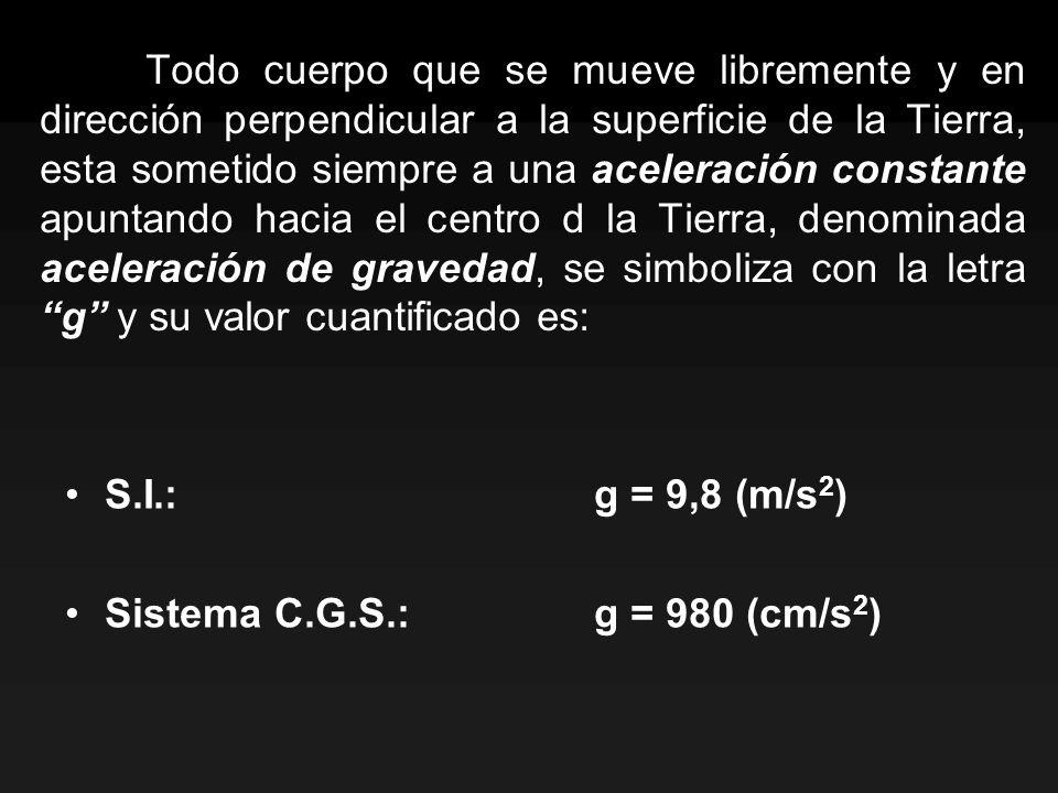 Del análisis de estas ecuaciones se deduce que: Tiempo subida: Altura máxima: El tiempo de subida será igual al tiempo de bajada, de modo que el tiempo de vuelo será: La velocidad inicial de subida es igual en módulo a la velocidad final de bajada.
