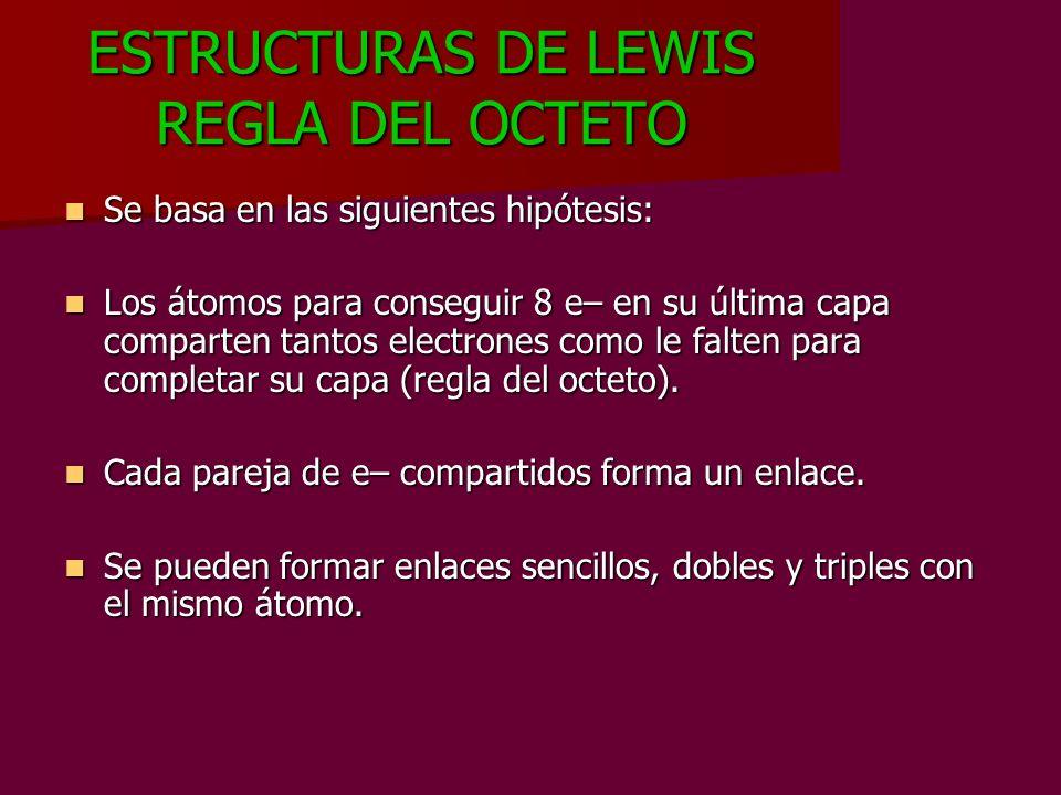 ESTRUCTURAS DE LEWIS REGLA DEL OCTETO Se basa en las siguientes hipótesis: Se basa en las siguientes hipótesis: Los átomos para conseguir 8 e– en su ú