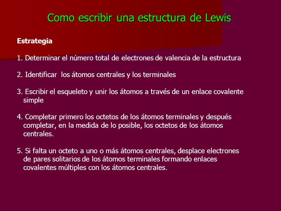Como escribir una estructura de Lewis Estrategia 1. Determinar el número total de electrones de valencia de la estructura 2. Identificar los átomos ce
