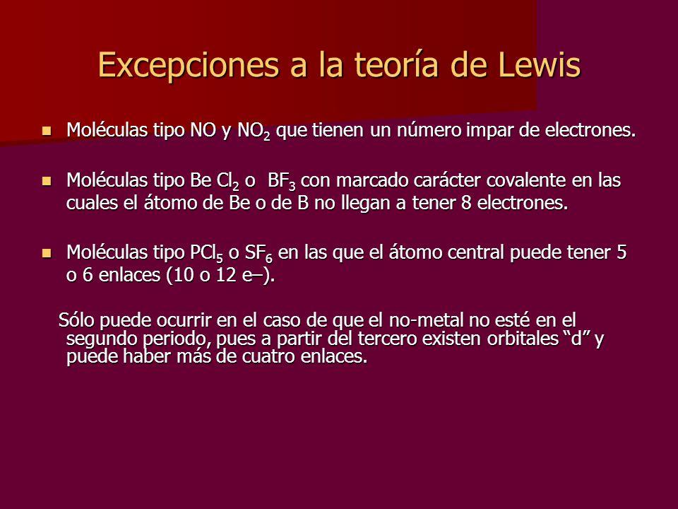 Excepciones a la teoría de Lewis Moléculas tipo NO y NO 2 que tienen un número impar de electrones. Moléculas tipo NO y NO 2 que tienen un número impa