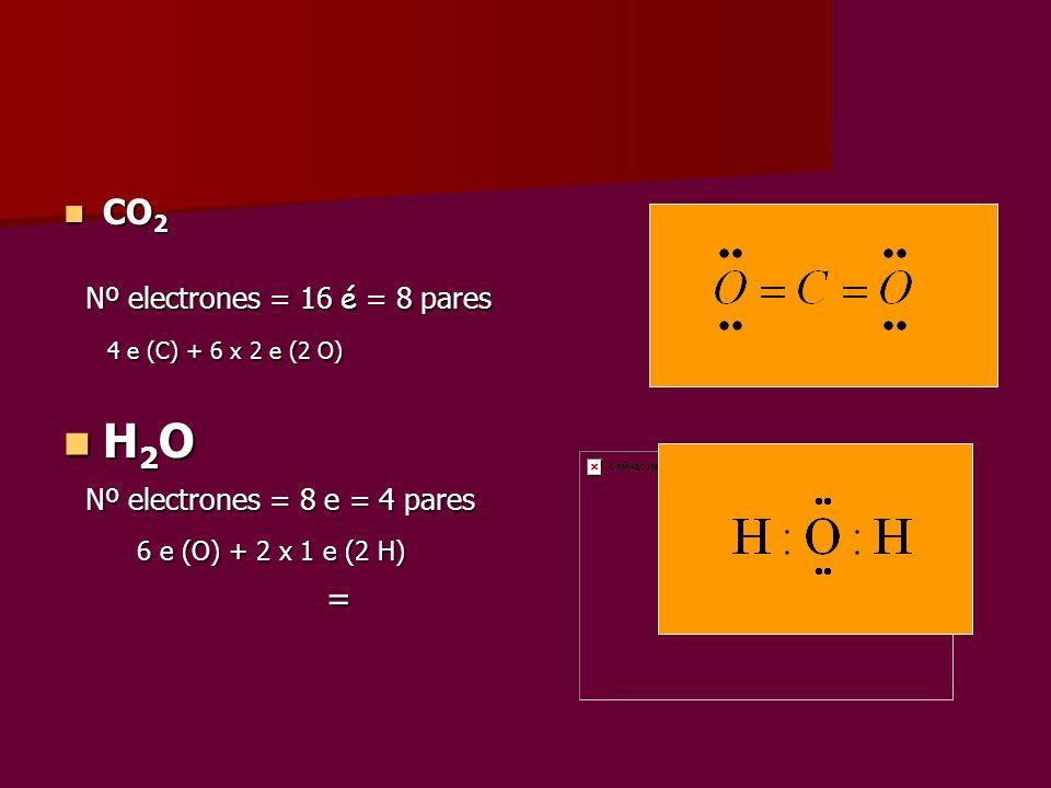 CO 2 CO 2 Nº electrones = 16 é = 8 pares Nº electrones = 16 é = 8 pares 4 e (C) + 6 x 2 e (2 O) 4 e (C) + 6 x 2 e (2 O) H 2 O H 2 O Nº electrones = 8
