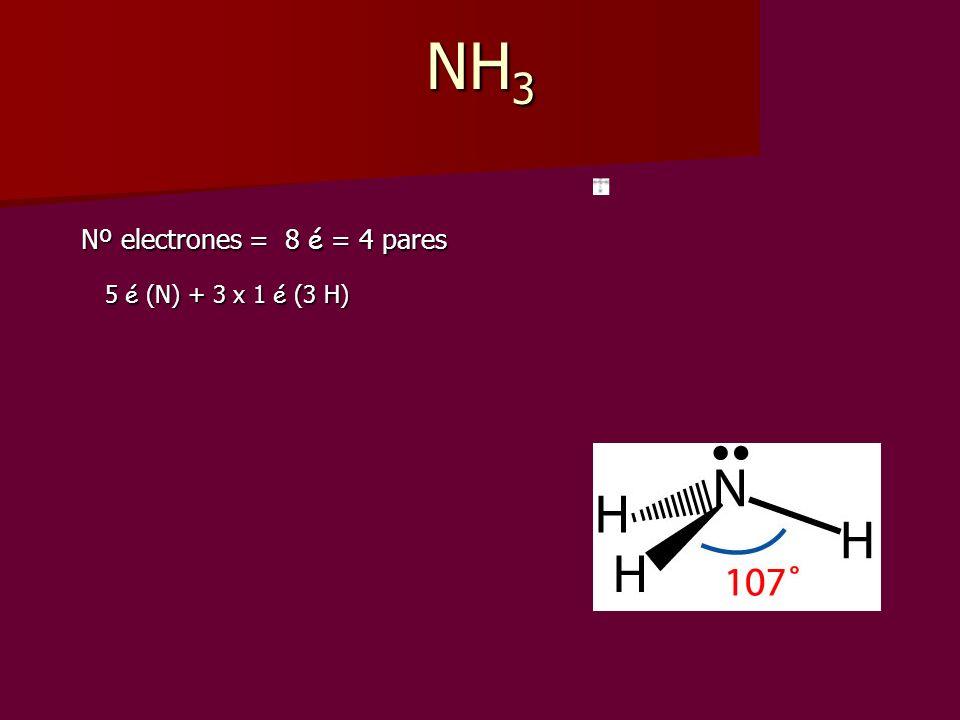NH 3 Nº electrones = 8 é = 4 pares Nº electrones = 8 é = 4 pares 5 é (N) + 3 x 1 é (3 H) 5 é (N) + 3 x 1 é (3 H)