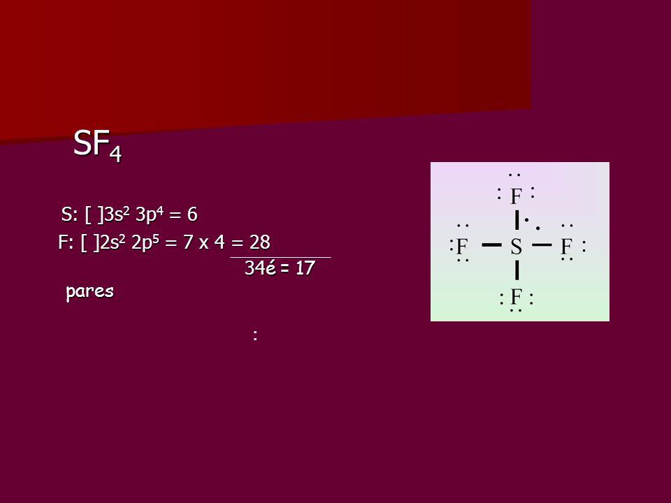 SF 4 SF 4 S: [ ]3s 2 3p 4 = 6 S: [ ]3s 2 3p 4 = 6 F: [ ]2s 2 2p 5 = 7 x 4 = 28 F: [ ]2s 2 2p 5 = 7 x 4 = 28 34 é = 17 pares 34 é = 17 pares :