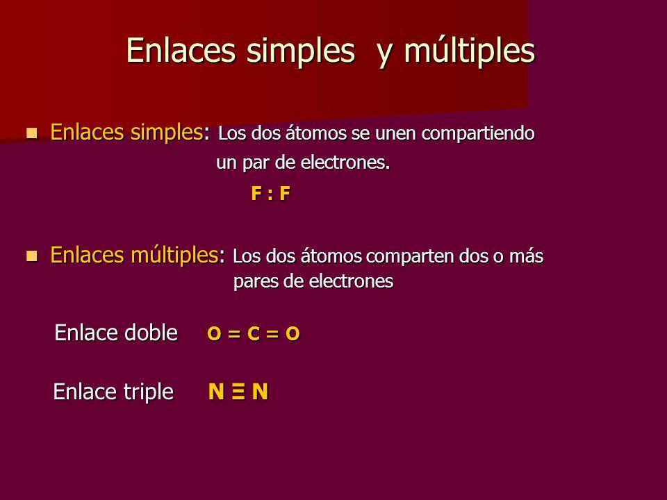 Enlaces simples y múltiples Enlaces simples: Los dos átomos se unen compartiendo Enlaces simples: Los dos átomos se unen compartiendo un par de electr