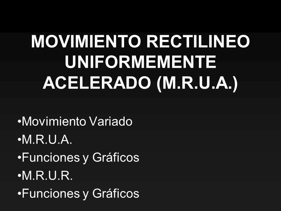 Movimiento Variado M.R.U.A. Funciones y Gráficos M.R.U.R. Funciones y Gráficos MOVIMIENTO RECTILINEO UNIFORMEMENTE ACELERADO (M.R.U.A.)