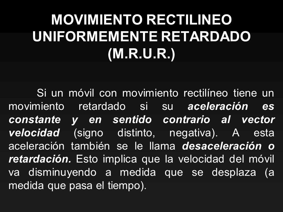 MOVIMIENTO RECTILINEO UNIFORMEMENTE RETARDADO (M.R.U.R.) Si un móvil con movimiento rectilíneo tiene un movimiento retardado si su aceleración es cons