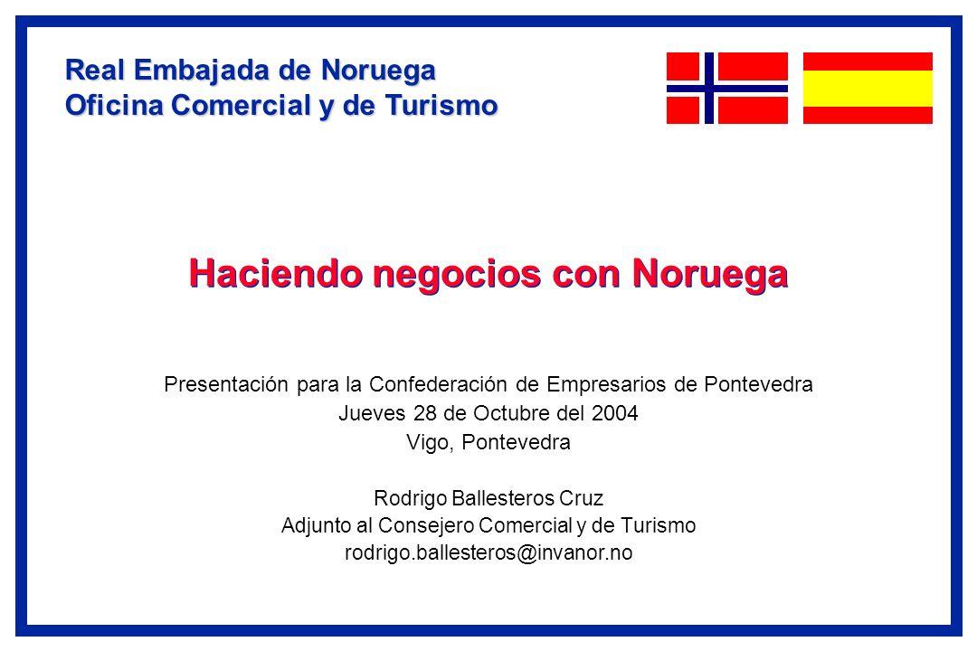 Haciendo negocios con Noruega Presentación para la Confederación de Empresarios de Pontevedra Jueves 28 de Octubre del 2004 Vigo, Pontevedra Rodrigo B