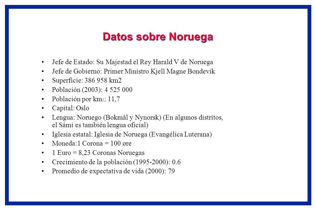 Datos sobre Noruega Jefe de Estado: Su Majestad el Rey Harald V de Noruega Jefe de Gobierno: Primer Ministro Kjell Magne Bondevik Superficie: 386 958