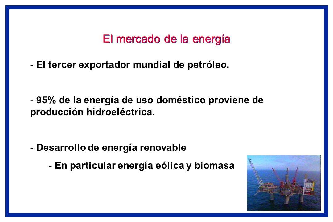 El mercado de la energía - El tercer exportador mundial de petróleo. - 95% de la energía de uso doméstico proviene de producción hidroeléctrica. - Des