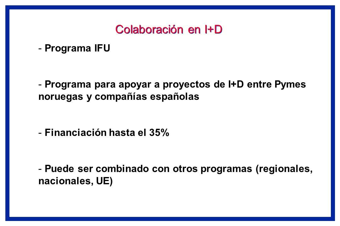 Colaboración en I+D - Programa IFU - Programa para apoyar a proyectos de I+D entre Pymes noruegas y compañías españolas - Financiación hasta el 35% -