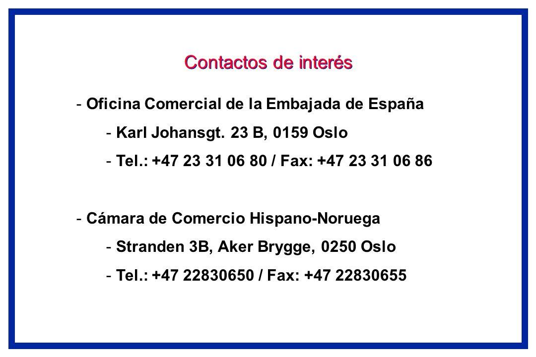 Contactos de interés - Oficina Comercial de la Embajada de España - Karl Johansgt. 23 B, 0159 Oslo - Tel.: +47 23 31 06 80 / Fax: +47 23 31 06 86 - Cá