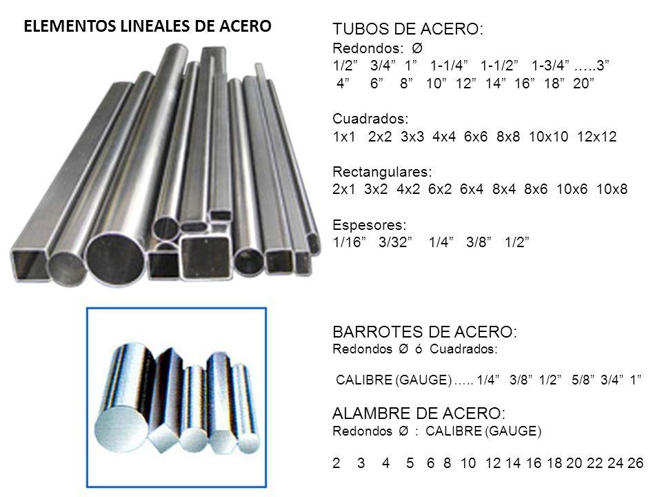 TUBOS DE ACERO: Redondos: Ø 1/2 3/4 1 1-1/4 1-1/2 1-3/4 …..3 4 6 8 10 12 14 16 18 20 Cuadrados: 1x1 2x2 3x3 4x4 6x6 8x8 10x10 12x12 Rectangulares: 2x1