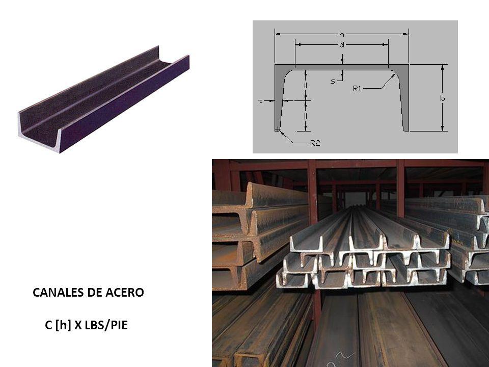 CANALES DE ACERO C [h] X LBS/PIE