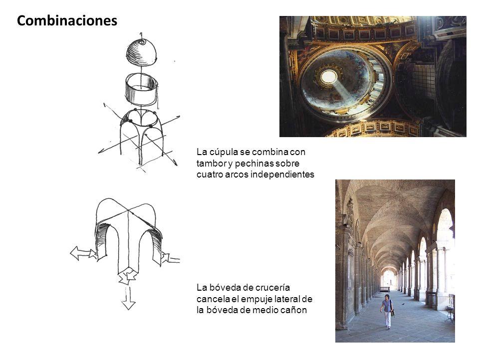 Combinaciones La cúpula se combina con tambor y pechinas sobre cuatro arcos independientes La bóveda de crucería cancela el empuje lateral de la bóved