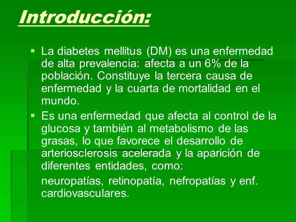 Introducción: La diabetes mellitus (DM) es una enfermedad de alta prevalencia: afecta a un 6% de la población. Constituye la tercera causa de enfermed