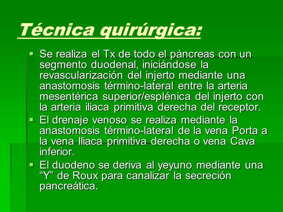 Técnica quirúrgica: Se realiza el Tx de todo el páncreas con un segmento duodenal, iniciándose la revascularización del injerto mediante una anastomos