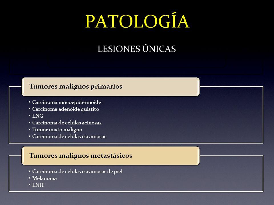 PATOLOGÍA LESIONES ÚNICAS Carcinoma mucoepidermoide Carcinoma adenoide quistito LNG Carcinoma de celulas acinosas Tumor mixto maligno Carcinoma de cel