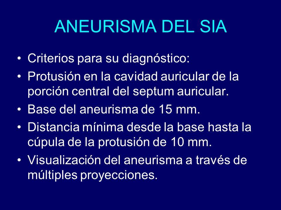 ANEURISMA DEL SIA Criterios para su diagnóstico: Protusión en la cavidad auricular de la porción central del septum auricular. Base del aneurisma de 1