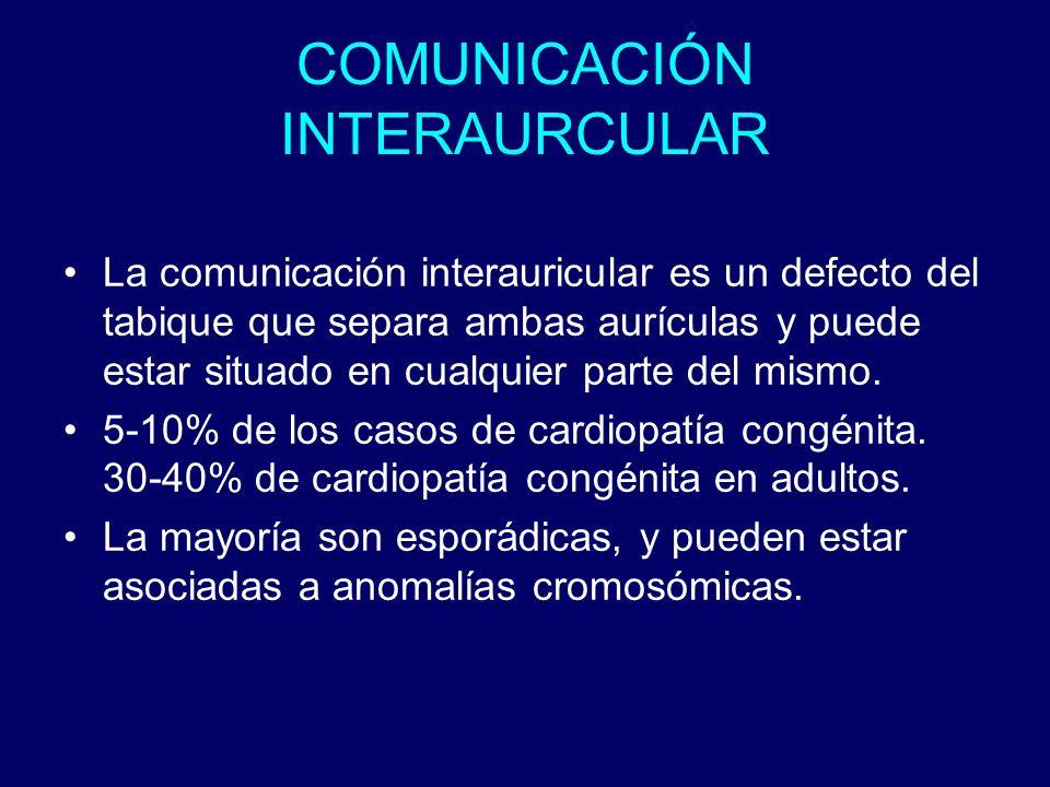 COMUNICACIÓN INTERAURCULAR La comunicación interauricular es un defecto del tabique que separa ambas aurículas y puede estar situado en cualquier part