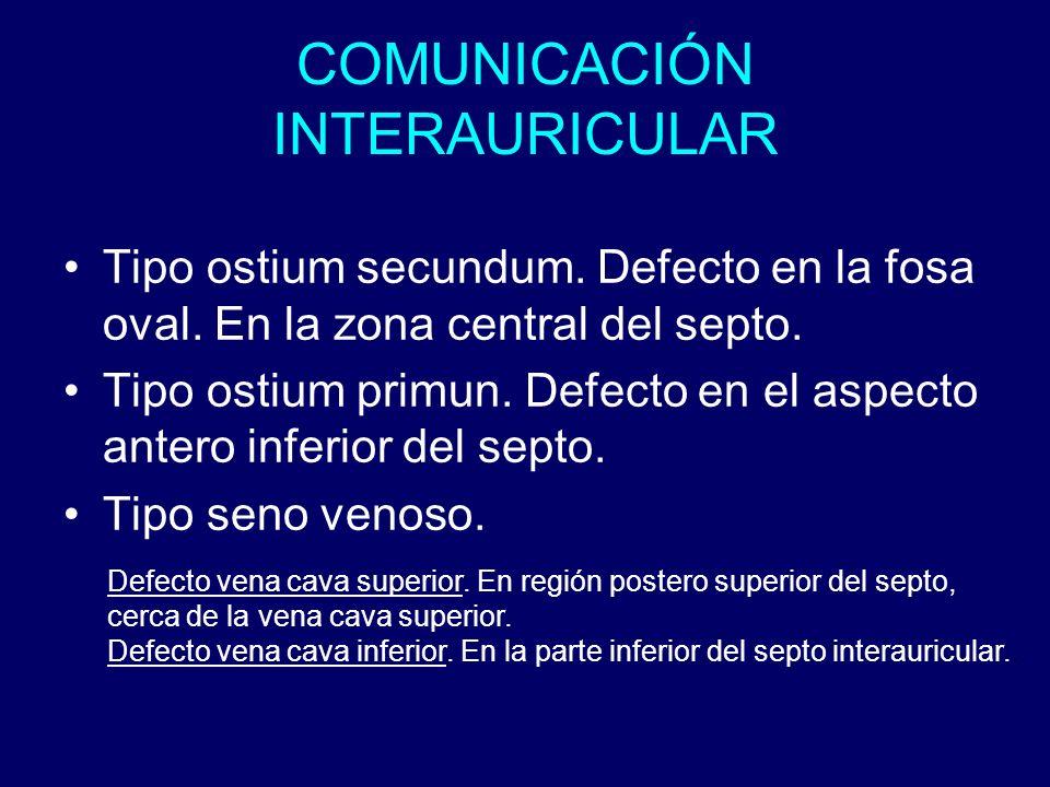 COMUNICACIÓN INTERAURICULAR Tipo ostium secundum. Defecto en la fosa oval. En la zona central del septo. Tipo ostium primun. Defecto en el aspecto ant