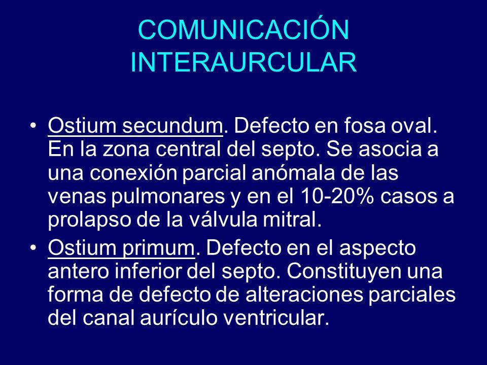 COMUNICACIÓN INTERAURCULAR Ostium secundum. Defecto en fosa oval. En la zona central del septo. Se asocia a una conexión parcial anómala de las venas
