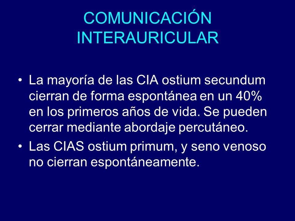 COMUNICACIÓN INTERAURICULAR La mayoría de las CIA ostium secundum cierran de forma espontánea en un 40% en los primeros años de vida. Se pueden cerrar
