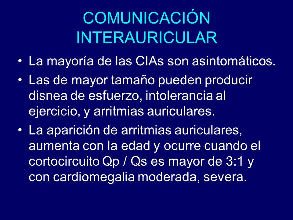 COMUNICACIÓN INTERAURICULAR La mayoría de las CIAs son asintomáticos. Las de mayor tamaño pueden producir disnea de esfuerzo, intolerancia al ejercici