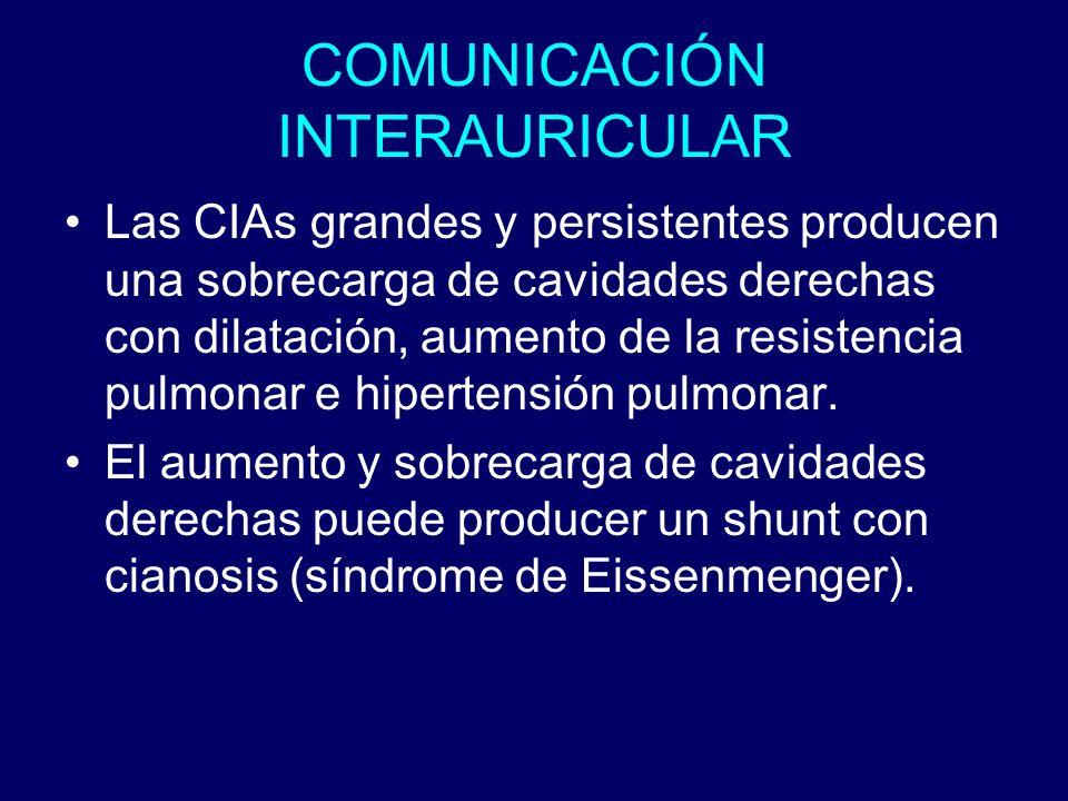 COMUNICACIÓN INTERAURICULAR Las CIAs grandes y persistentes producen una sobrecarga de cavidades derechas con dilatación, aumento de la resistencia pu