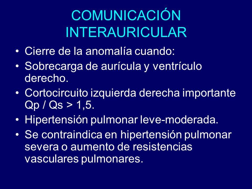 COMUNICACIÓN INTERAURICULAR Cierre de la anomalía cuando: Sobrecarga de aurícula y ventrículo derecho. Cortocircuito izquierda derecha importante Qp /
